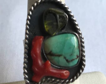 Vintage Sterling Silver Turquoise And Coral Ring-Size 5 3/4