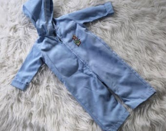 Vintage Beatrix Potter Baby Boys Hooded Coveralls Size 3 6 Months Blue Outfit
