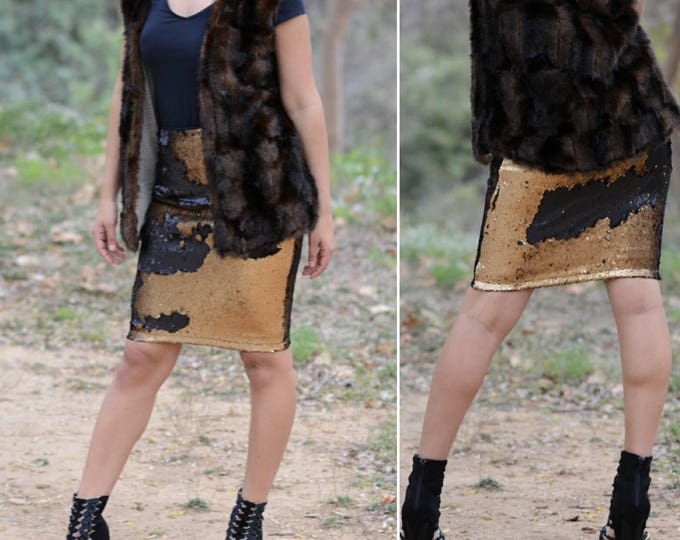 Matte Dark Gold/Black Pencil Skirt - Flip Sequin - Stretchy, beautiful above knee length - pencil skirt (S,M,L,XL)  Ships asap! Runs bigger.