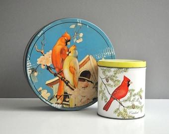 Vintage Pair of Metal Storage Tins - Cardinals