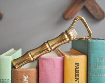Vintage Brass Bamboo-Shaped Bottle Opener - Bohemian Decor