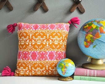 Vintage Bright Pink and Orange Decorative Pillow