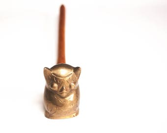 Vintage Brass Owl Candle Snuffer