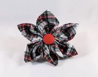 Tartan Plaid Girl Dog Flower Bow Tie