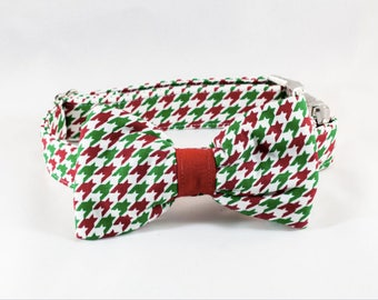 Green and Red Christmas Houndstooth Bow Tie Dog Collar