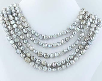 """5-Strand Gray Freshwater Pearls Necklace Beaded Statement 18""""-20.5"""" Poly1105"""