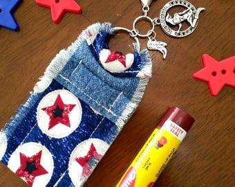 Denim Lip Balm Holder Keychain, Chapstick Holder, Cowgirl Charms, Gift for Women, Girls, Hand Sewn Gift, Upcycled Denim Bag Charm