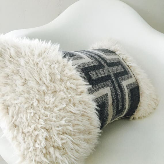 "Boho Gray Swiss Cross Pillow Cover 14""x24"" Lumbar Cushion Pillow Gray Cream Wool Bohemian Plus Sign Geometric Fur Pillow"