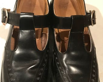 RARE Original Air Wair Doc Martens .Ladies Black Leather Shoes. Made In England. euro size 6 USE size 9 .AW004 Combat/Mary Jane style RARE