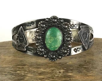 Early Pawn Stamped Sterling Cuff with Turquoise & Arrowhead Details