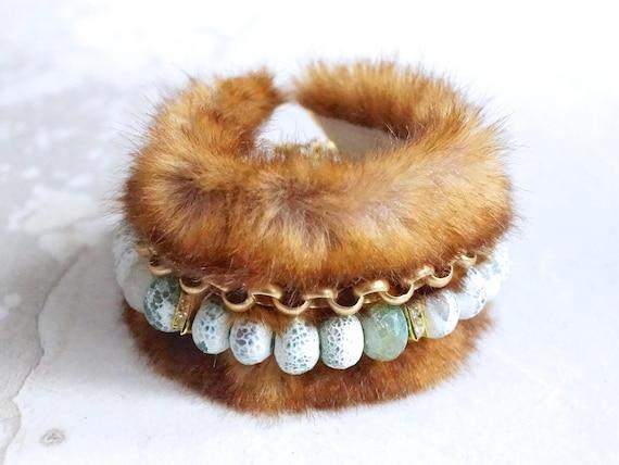 Mint gemstone bracelet with faux fur