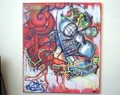 Graffiti Art on Canvas - Untitled *ORIGINAL Black Light reactive ARTWORK* by Vinni Kiniki - black light neon