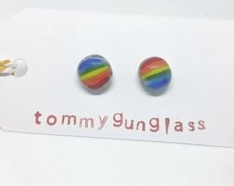 Pride Flag Glass Stud Earrings