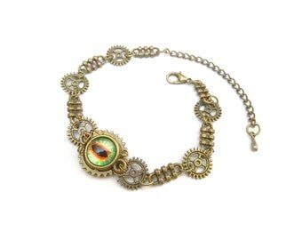 Steampunk bracelet green and Red