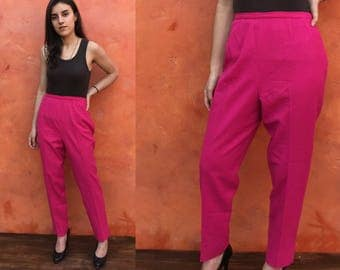 Vintage 1960s Pink Wool  High Waisted Pants. high waist vintage women's pant. rockabilly pinup. Tapered legs