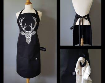 Tablier pour femme / Silhouette de chevreuil noir et blanc / Polyester et coton noir /  Apron for women / Deer head / Black and White