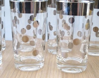 Vintage Mid Century Silver Rimmed Polka Dot Highball Glasses Dorothy Thorpe Style