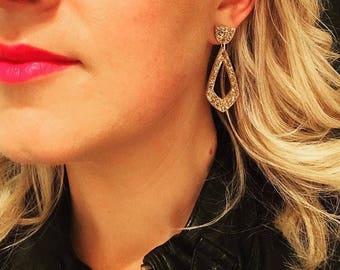 Laser cut acrylic earrings - fine gold glitter earrings - gifts for her - glitter acrylic - laser cut earrings - kookinuts - Hypoallergenic