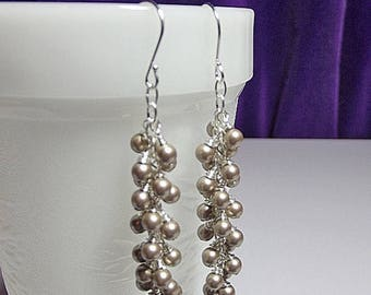 30% OFF SALE thru Sun Long Swarovski Platinum Pearl Icicle Cluster Drop Earrings, Christmas Gift, Mom Sister Jewelry, Bridesmaid Earrings, C