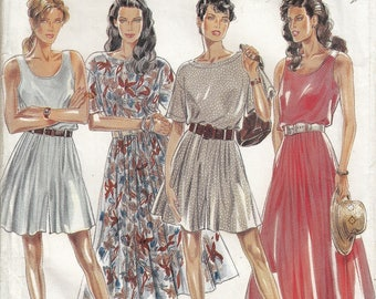 "Women's Dress Sewing Pattern Flirty Sexy Two Lenghts Short Sleeve or Sleeveless New Look 6675 Size 8-14 Bust 31.5-36"" Uncut"