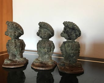 Vintage set of 3  iron cast doll mold,Toys molds,soldier doll, Industrial Decor,