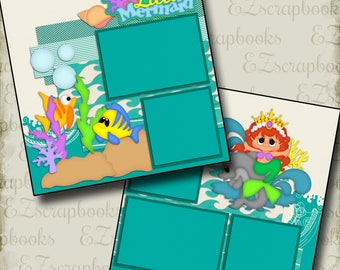 LITTLE MERMAID - 2 Premade Scrapbook Pages - EZ Layout 2130