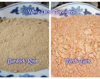 BURDOCK Powder ~ BIRCH BARK Powder ~ Organic 1oz