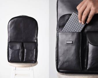 Laptop backpack 15 inch - MacBook backpack - Leather laptop backpack - Computer backpack - Black leather backpack - Mens laptop backpack