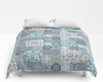 Marrakesh Tiles Duvet Cover or Comforter, Aqua Mint Turquoise Teal Denim Indigo Slate Royal Blue White Grey, Bedding Bedspread Twin Full