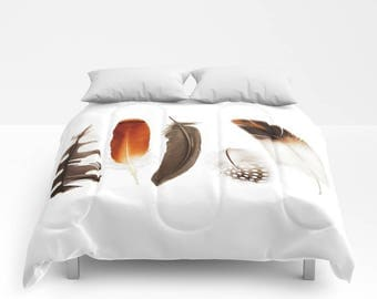 Feather Print Duvet Cover or Comforter, Bedspread Twin Full,Burnt Orange Black White Rust Brown Red Grey, Bright vivid colors, Free spirit