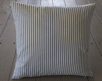 French Blue Ticking Pillow, Farmhouse Pillows, Shabby Chic, INSERT INCLUDED