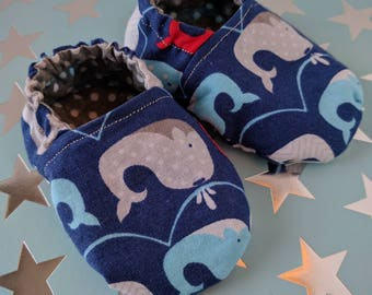 Baby Shoes - soft sole - newborn - baby boy - baby girl - baby shower gift - baby slippers - nautical whales