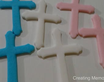 Cross Toppers for cakes made of fondant, you choose the colors/ Fist communion, Christenin