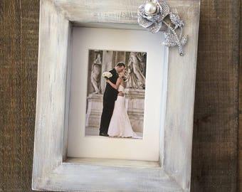 White Wedding Photo Frame White Wash Wood Block Diamond Rose Jewel Personalize Simple Elegant Decor Bridal Registry Beach Barn