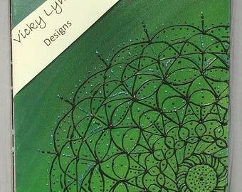 Mandala Acrylic Painting. Green, black