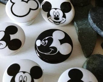 SUMMER SALE Dresser drawer knobs Mickey Mouse inspired  wooden Knobs hand decorated  1 1/2 inches set of 6 Mickey Mouse s