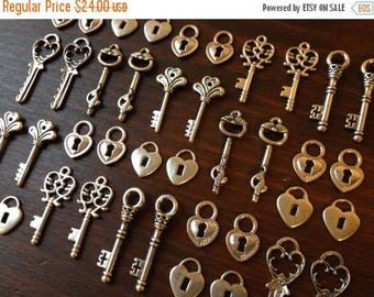 ON SALE Lock & Key - Skeleton Keys and Lock Set - 50 x Antique Silver Skeleton Key Charms and 50 Small Heart Lock Charms