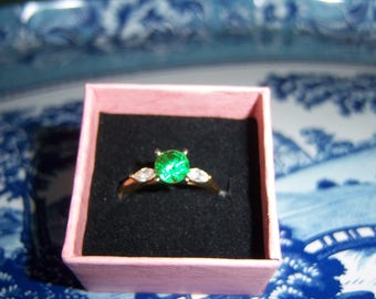 14K Yellow Gold Diamonique Emerald and CZ Ring in Size 8