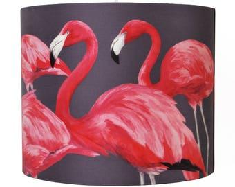 Flock of Flamingos Lampshade [large] - handmade silk shade