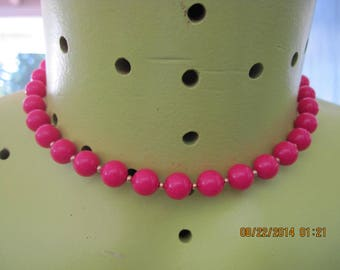 Vintage ROMANTIC SUMMERTIME Hot Pink & Gold Bead Choker with Matching/Hidden Clasp....#7502