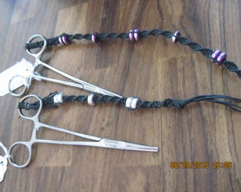Hand Made Macrame Concert Clips/Hemostats w/ Lazar Cut Beads...black.........OOAK....Original Design....