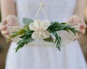 Flower Girl Basket | White Wire Basket | Wedding Basket | Card Basket | White Basket | ivory flower | Floral Alternative | Wedding Basket