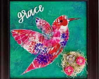 Grace Hummingbird Art, Original Painting, Colorful Painting, Mixed Media Canvas, Hummingbird Collage, Framed Painting, Inspirational Art