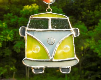 VW Bus Hippie Van Yellow Stained Glass Suncatcher Wall Hanging Boho Bohemian Decor Peace
