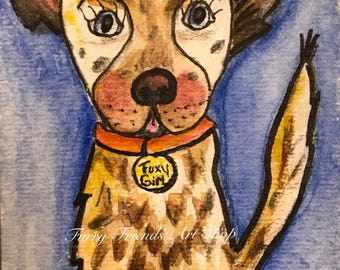 "Foxy Girl Cow Dog ACEO 2.5"" x 3.5"" Original Watercolor Art"