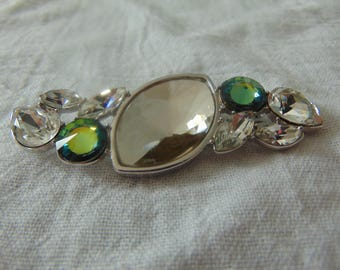 vintage, rare ysl clear swarovski crystals light green blue margarita crystals brooch silver signed new