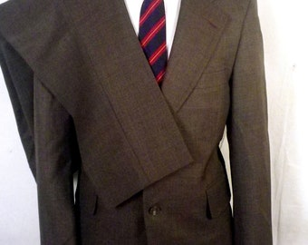 vtg 60s Hall Brown euc 100% Wool Canvassed 2 Pc Business Suit flat front 40 S