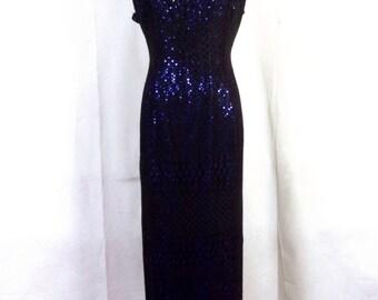 vtg 90s Molly Malloy euc Shiny Blue / Black Sequin Dress Gown Formal petite 14