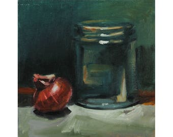 Glass Jar Red Onion on Green, Purple Cipollini Onion Kitchen Art