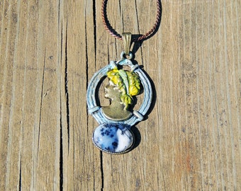 Camay crew neck with a cabochon dendritic Opal Choker necklace with dendritic Opal cabochon camay